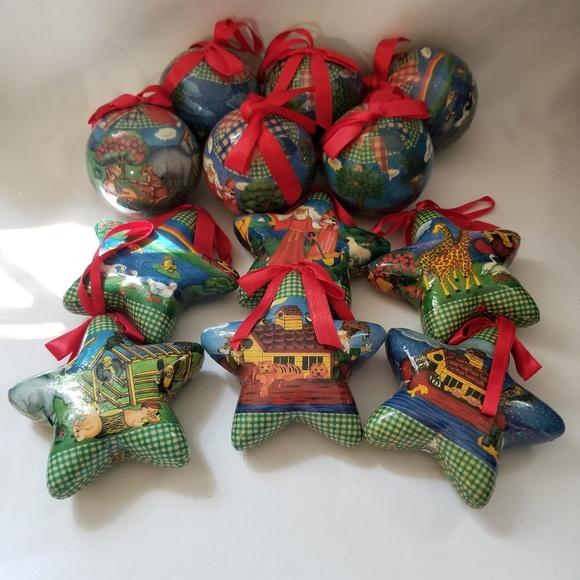 12 Vtg Noah\u2019s Ark Decoupage Christmas Ornamenmts